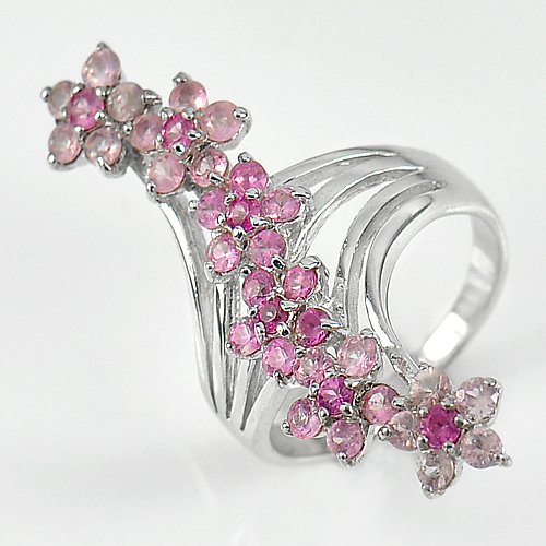 5.53 G. Natural Gems Round Pink Sapphire Real 925 Sterling Silver Rings Size 6.5