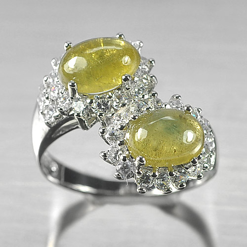 5.13 G. Natural Greenish Yellow Sapphire Real 925 Sterling Silver Ring Size 9