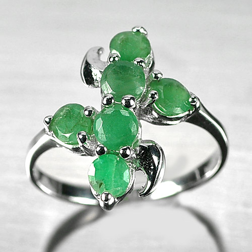 2.63 G. Natural Green Emerald Real 925 Sterling Silver Jewelry Ring Size 7.5