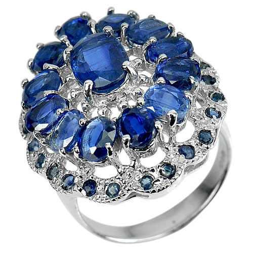 8.05 G. Natural Gems Blue Kyanite Real 925 Sterling Silver Jewelry Ring Size 7