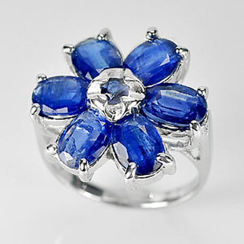 5.73 G. Natural Gems Blue Kyanite Real 925 Sterling Silver Ring Jewelry Size 6.5