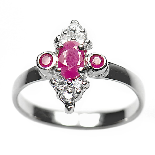 2.51 G. Natural Purplish Pink Ruby 925 Sterling Silver Ring Jewelry Size 7.5