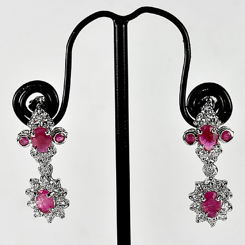 Nice Color Natural Ruby 925 Sterling Silver Jewelry Earring Length 1 Inch.