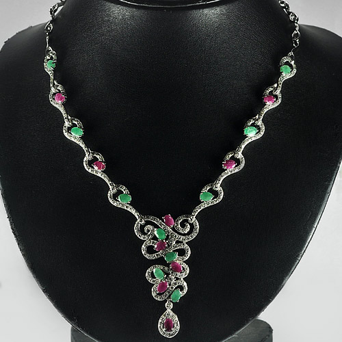 Natural Emerald and Ruby 925 Sterling Silver Jewelry Necklace Length 11 Inch.