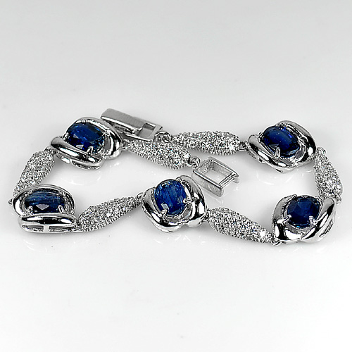 12.44 G. Natural Kyanite 925 Sterling Silver Jewelry Bracelet Length 7.5 Inch.