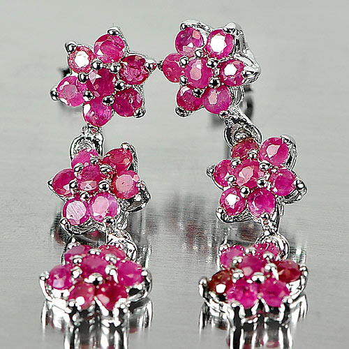 4.99 G. Natural Round Red Ruby 925 Sterling Silver Chandelier Earrings Jewelry