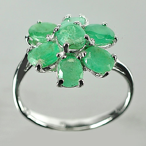 2.47 G. Natural Green Color Emerald Real 925 Sterling Silver Jewelry Ring Size 7