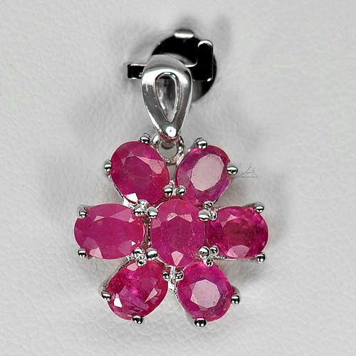 2.13 G. Natural Gems Purplish Pink Ruby 925 Silver Jewelry Pendent