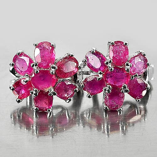 4.53 G. Gems Natural Purplish Red Ruby 925 Silver Jewelry Earrings