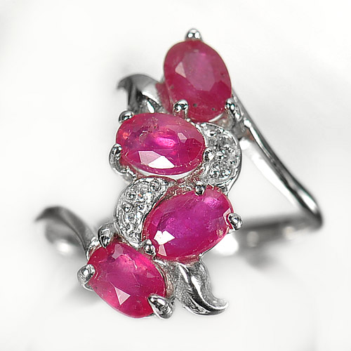 2.87 G. Natural Purplish Pink Ruby Real 925 Silver Jewelry Ring Size 7.5