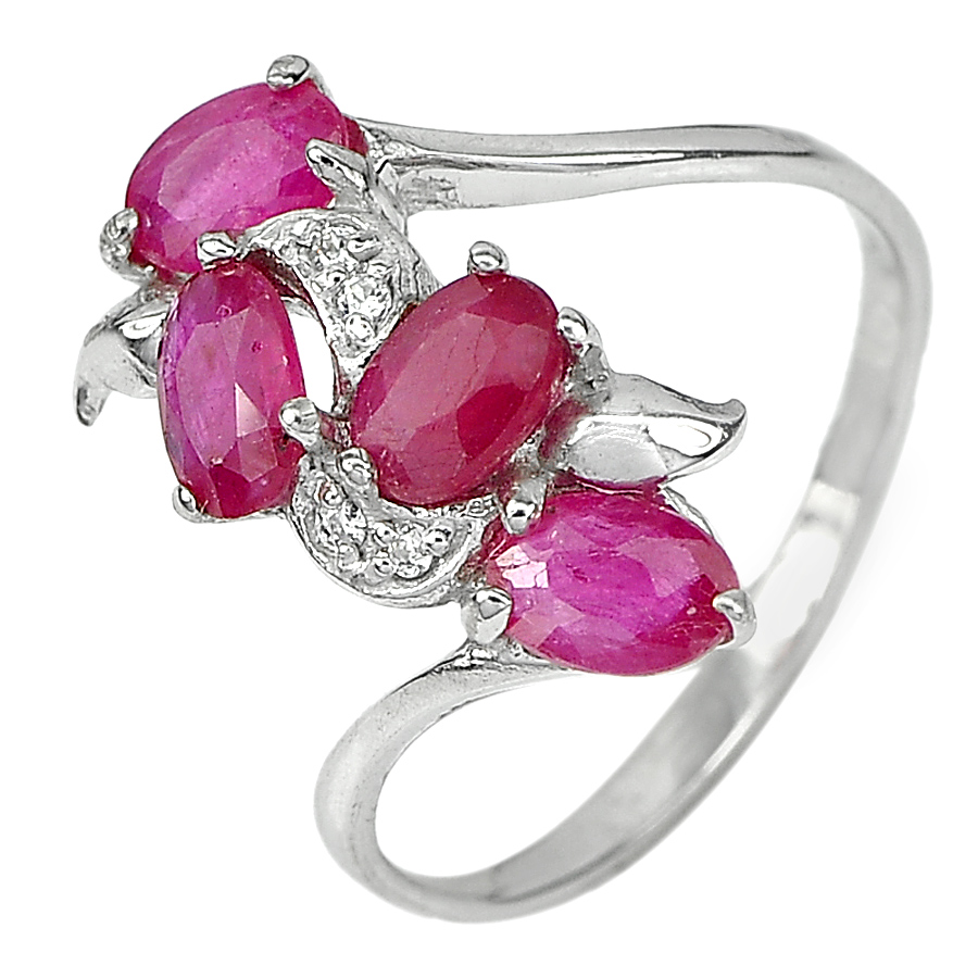 2.98 G. Natural Gems Pink Ruby with CZ Real 925 Sterling Silver Ring Size 9.5