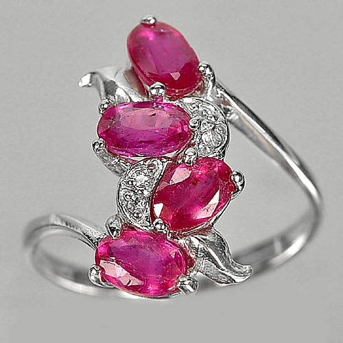 3.10 G. Natural Red Pink Ruby Gemstone Real 925 Sterling Silver Ring Size 9