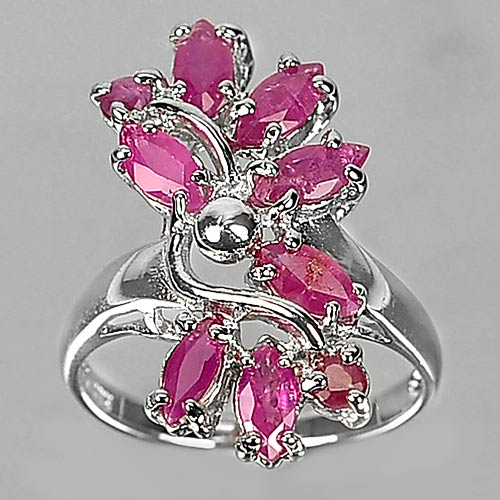 3.96 G. Natural Gems Purplish Pink Ruby Real 925 Sterling Silver Ring Size 6.5