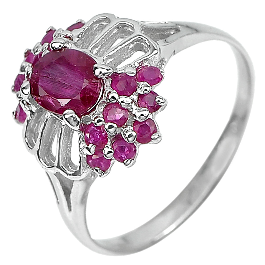 2.82 G. Natural Purplish Pink Ruby 925 Sterling Silver Ring Jewelry Size 8