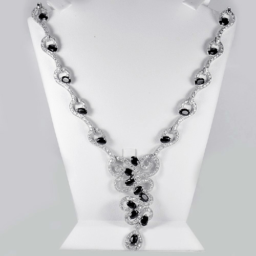 312.14 G. Nice Natural Black Spinel 925 Silver Jewelry Necklace Length 10.8Inch.
