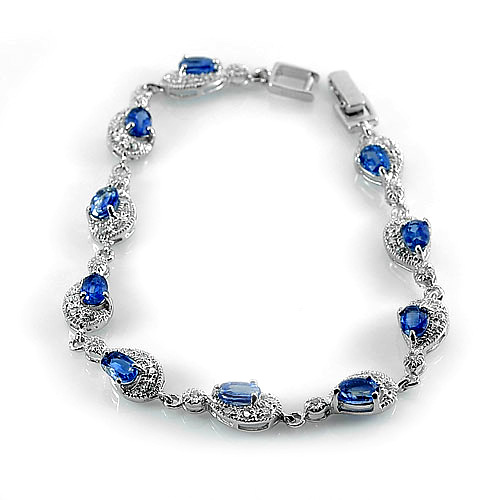 10.15 G. Natural Blue Kyanite 925 Silver Jewelry Bracelet Length 8 Inch.
