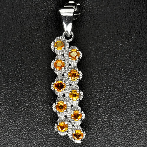 3.59 G. Natural Gems Yellow Songea Sapphire Real 925 Sterling Silver Pendant