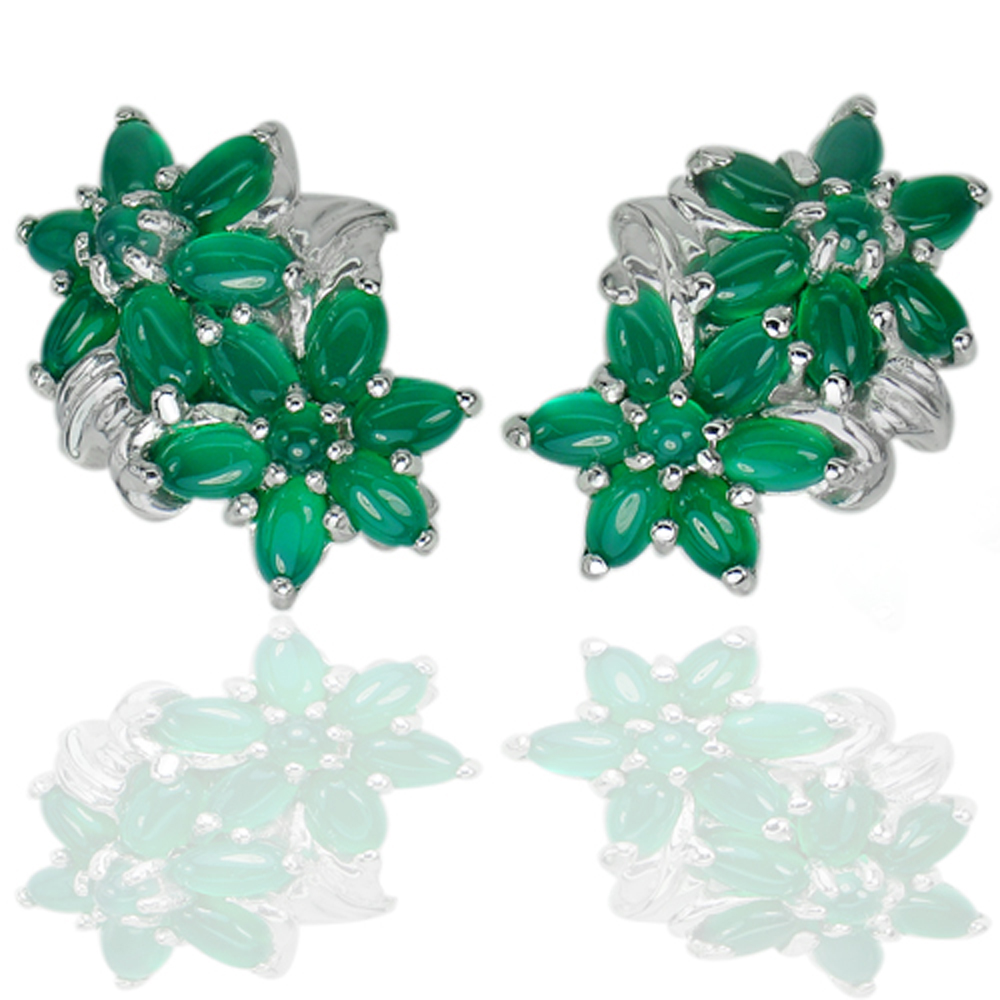 11.29 G. Natural Gems Green Aventurine Real 925 Sterling Silver Jewelry Earrings