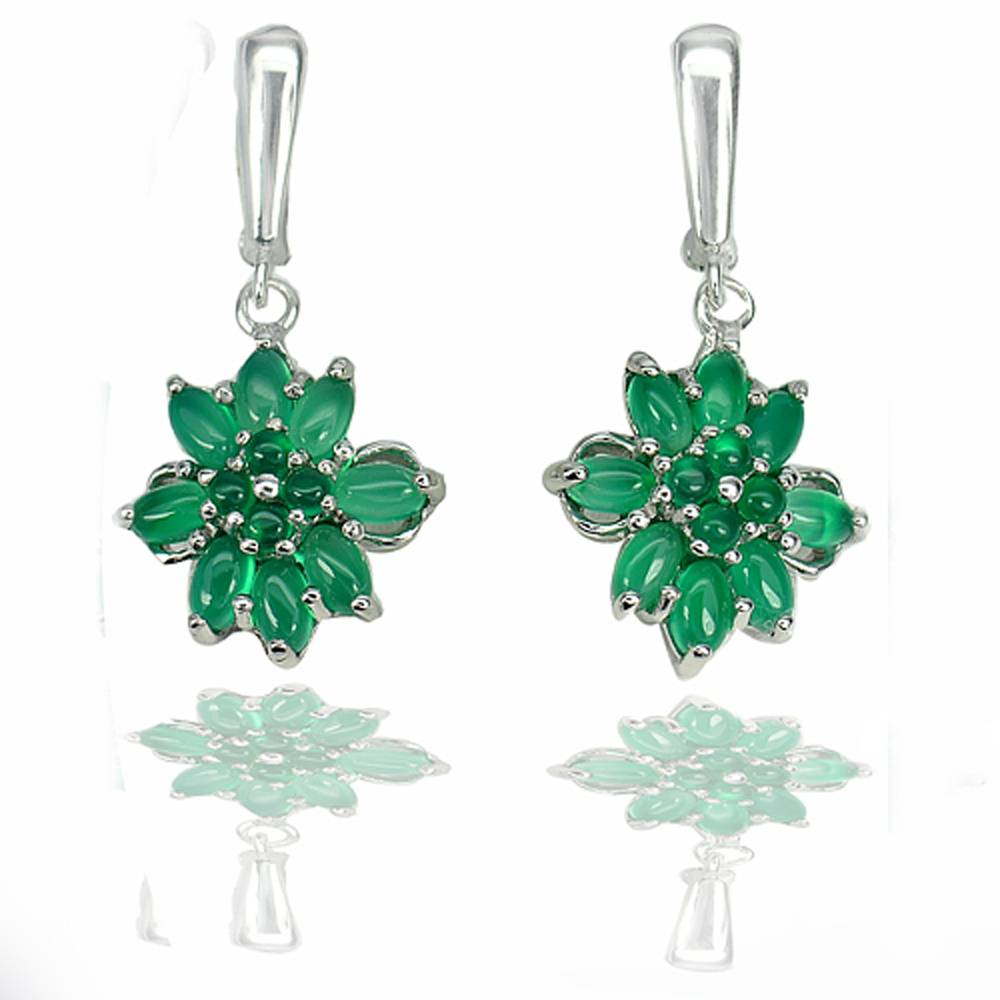 8.55 G. Natural Gems Green Aventurine Real 925 Sterling Silver Earrings Jewelry