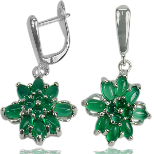 8.45 G. Natural Green Aventurine Gems Real 925 Sterling Silver Jewelry Earrings