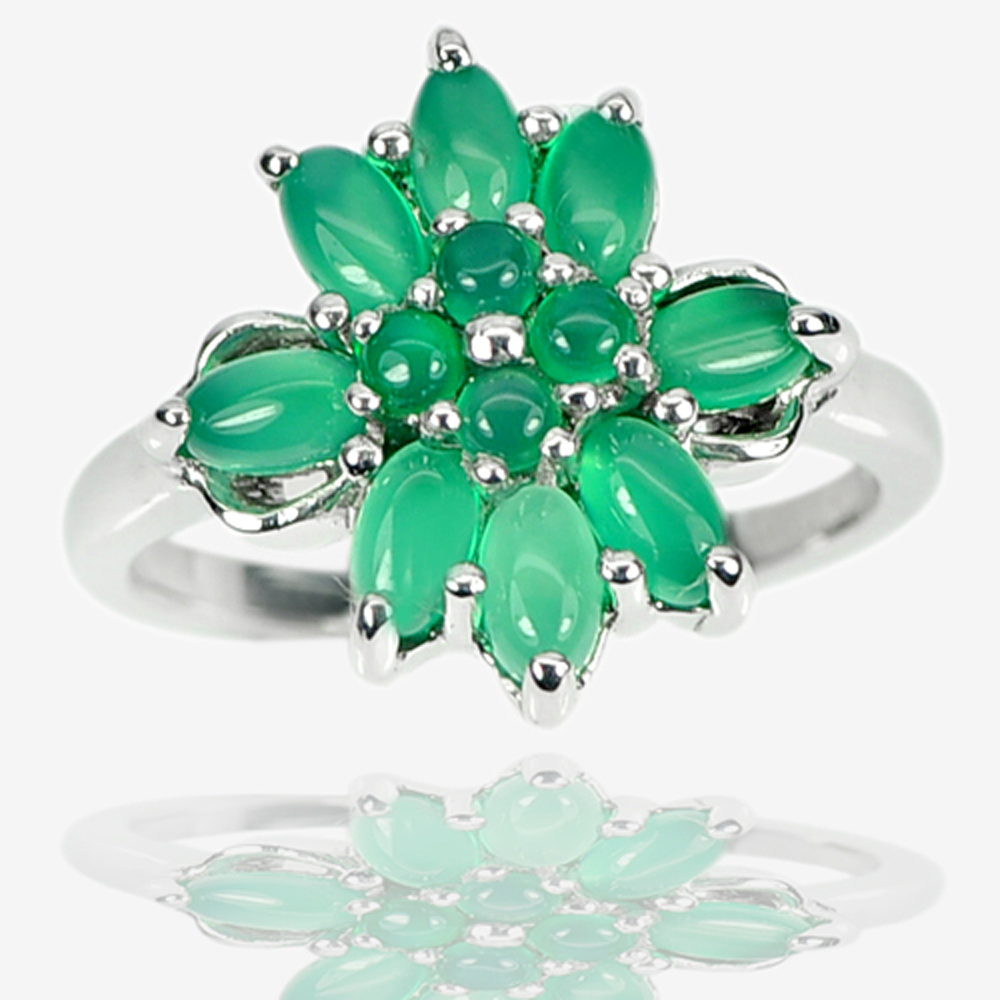 5.70 G. Natural Green Aventurine Real 925 Sterling Silver Jewelry Ring Size 9