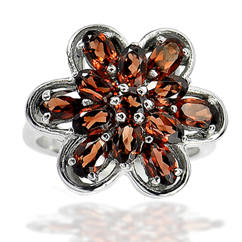 6.75 G. Natural Orange Red Garnet Real 925 Sterling Silver Jewelry Ring Size 7
