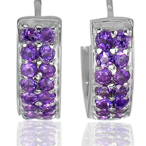 Good Natural Gems Round Purple Amethyst Sterling 925 Silver Jewelry Earrings