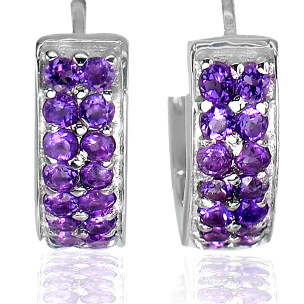 7.10 G. Natural Gems Round Purple Amethyst Real 925 Sterling Silver Earrings
