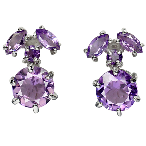 5.38 G. Natural Gems Purple Amethyst Real 925 Sterling Silver Jewelry Earrings