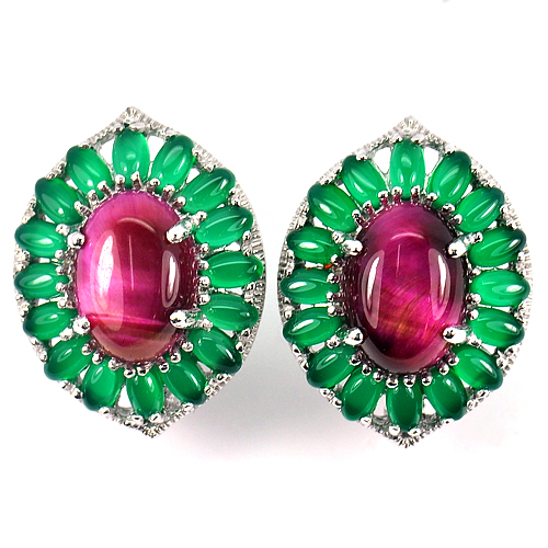 13.37 G. Natural Red Green Aventurine Real 925 Sterling Silver Jewelry Earrings