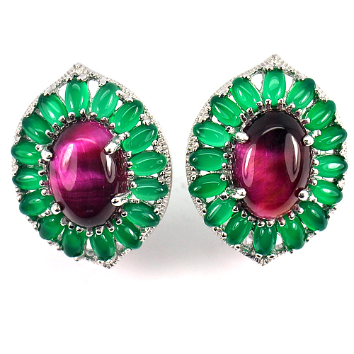 13.37 G. Natural Cabochon Red Green Aventurine Real 925 Sterling Silver Earrings
