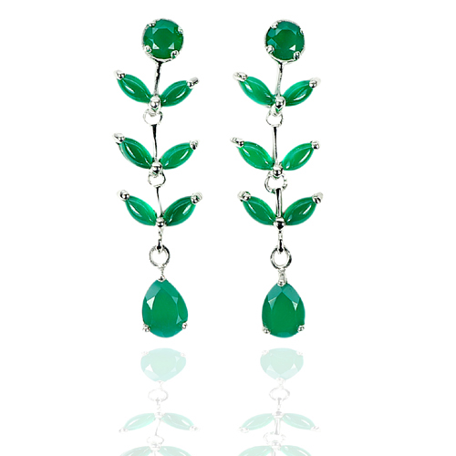6.73 G. Natural Gems Green Aventurine Real 925 Sterling Silver Jewelry Earrings