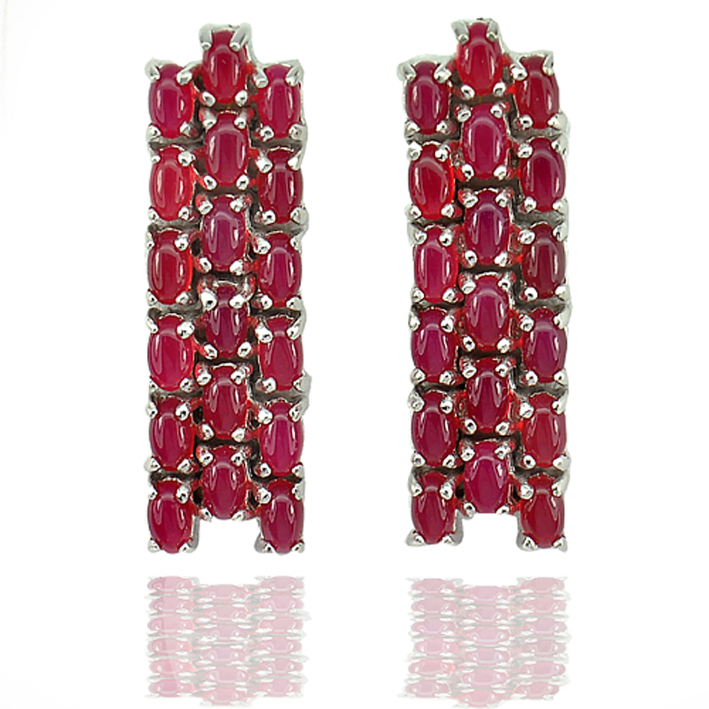 11.36 G. Natural Red Aventurine Real 925 Sterling Silver Fine Jewelry Earrings