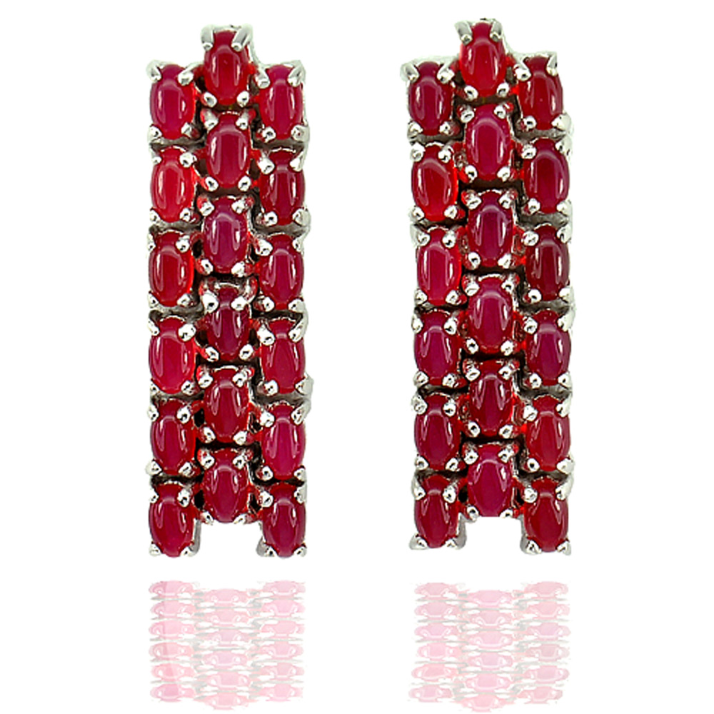 11.60 G. Gems Natural Red Aventurine Real 925 Sterling Silver Jewelry Earrings