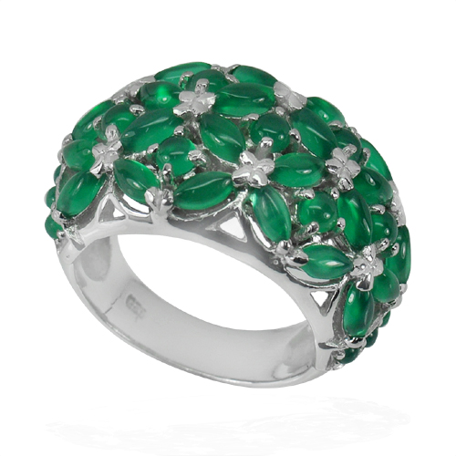 10.94 G. Natural Gems Green Aventurine Real 925 Sterling Silver Ring Size 8