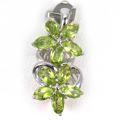 2.58G.Oval Shape Natural Gemstone Green Peridot Real 925 Sterling Silver Pendant