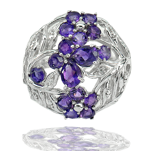 6.92 G. Natural Purple Amethyst Gems Real 925 Sterling Silver Ring Size 7