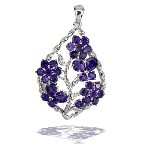 5.58 G. Natural Gemstones Purple Amethyst Real 925 Sterling Silver Pendant