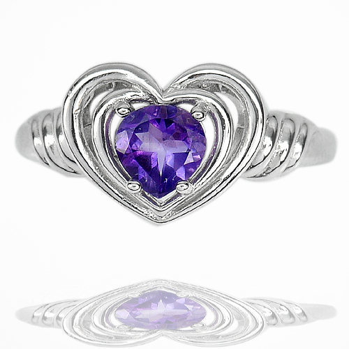 3.96 G. Natural Purple Amethyst Real 925 Sterling Silver Jewelry Ring Size 7