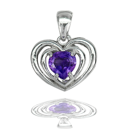 2.71 G. Good Pear Shape Natural Purple Amethyst Real 925 Sterling Silver Pendant