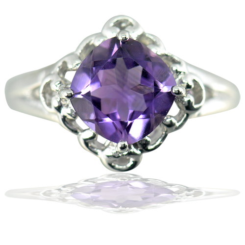 4.91 G. Natural Gemstone Purple Amethyst Real 925 Sterling Silver Ring Size 9