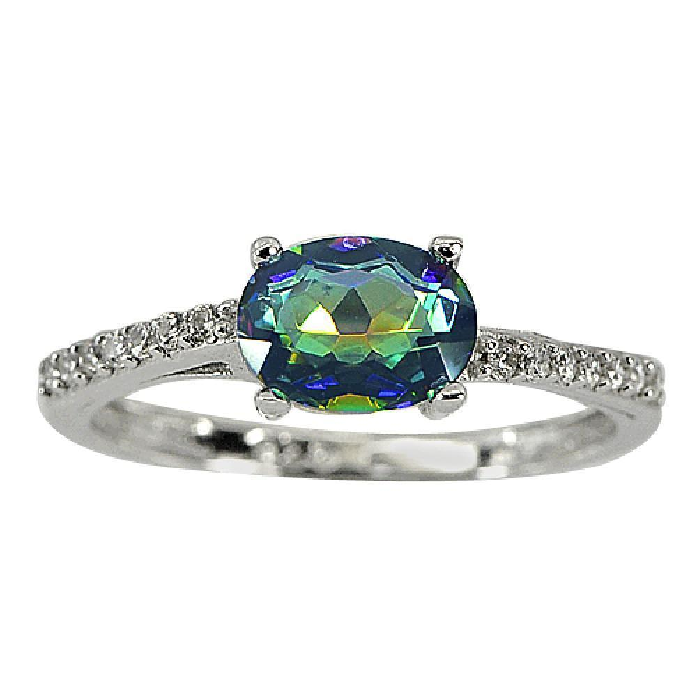 1.95 G. Charming Natural Gem Mystic Topaz Real 925 Sterling Silver Ring Size 8