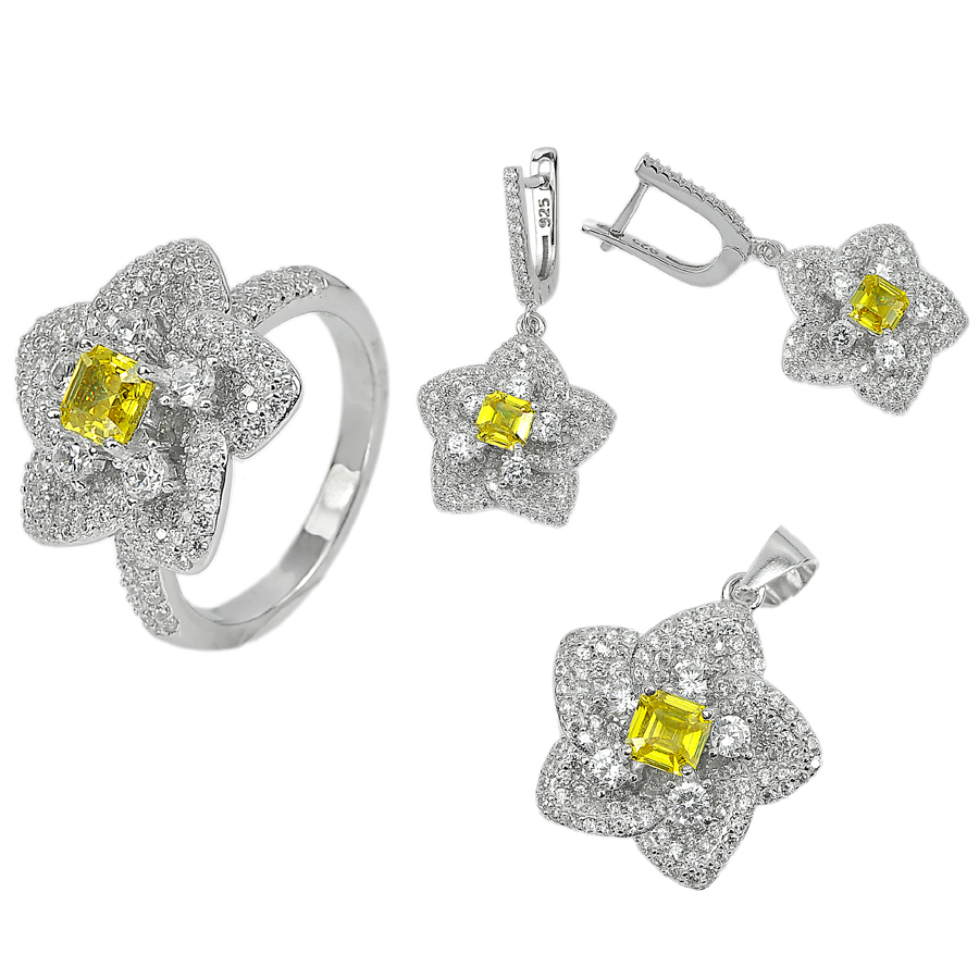 20.26 G. Square Yellow CZ Real 925 Sterling Silver Pendant Earrings Ring Size 8