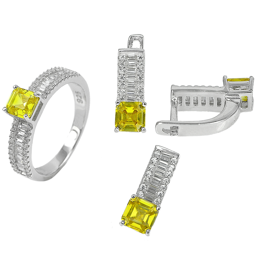 8.09 G. Square CZ Yellow Real 925 Sterling Silver Pendant Earrings Ring Size 7