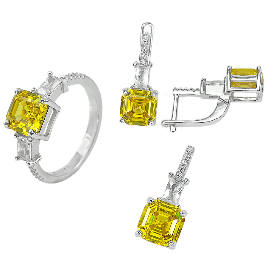 13.13G. Alluring Yellow CZ Real 925 Sterling Silver Pendant Earrings Ring Size 8