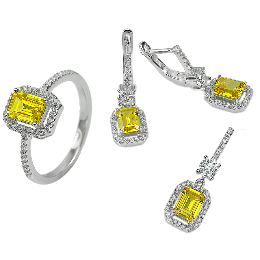 10.53 G. Lovely Yellow CZ Real 925 Sterling Silver Pendant Earrings Ring Size 8