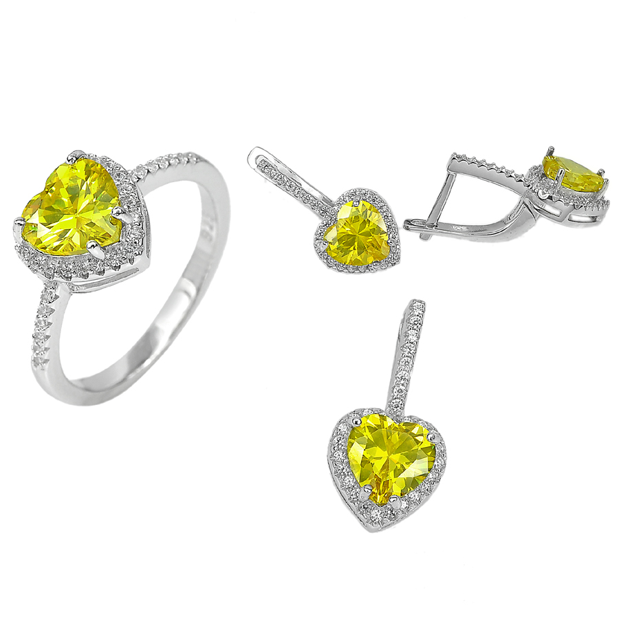 11.11 G. Heart Yellow CZ Real 925 Sterling Silver Pendant Earrings Ring Size 9