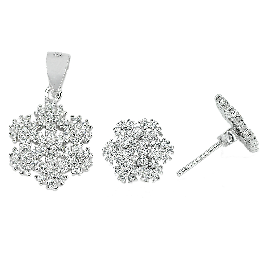 2.58 G. Alluring Round White CZ Real 925 Sterling Silver Sets Earrings Pendant