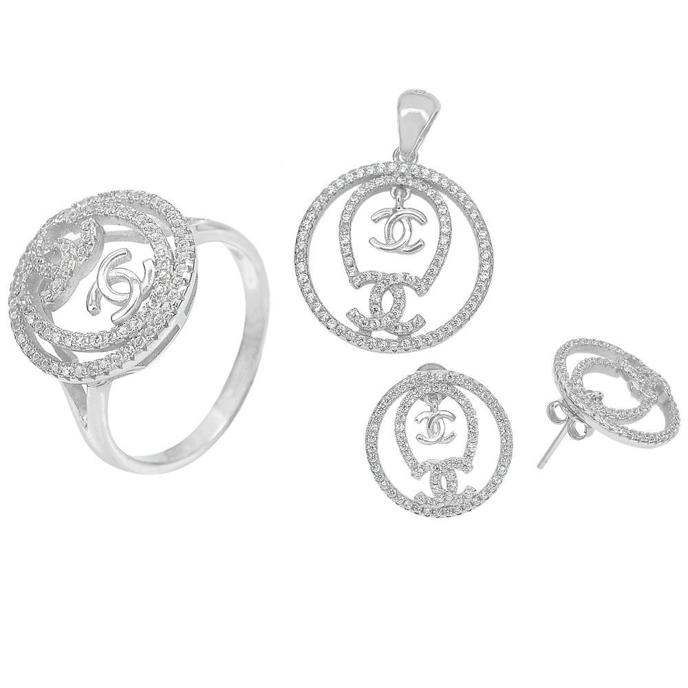 10.98 G. Real 925 Sterling Silver Jewelry Sets Earrings Pendant Ring Size 9