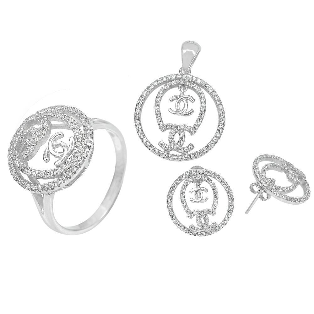 11.02 G. Real 925 Sterling Silver Jewelry Sets Earrings Pendant Ring Size 8.5